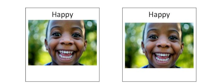a snapshot of the children's emotion memory game with two images of a smiling boy with the word happy at the top