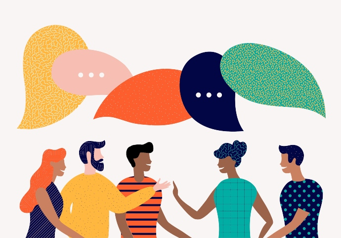 Illustration of people with different skin tones with speech bubbles above their heads