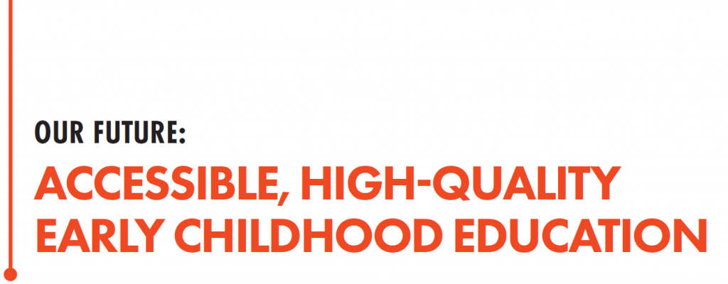 Image that reads: Our Future: Accessible, High-Quality Early Childhood Education