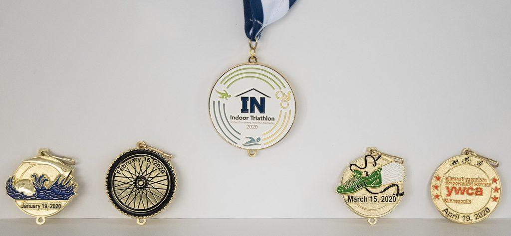 ywca indoor triathlon race medals 5 collectible medals
