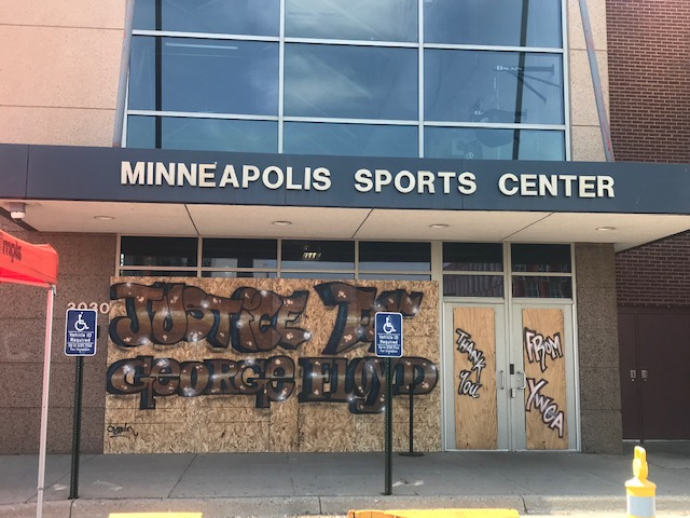 YWCA Minneapolis Sports Center with Justice for George Floyd graffiti art